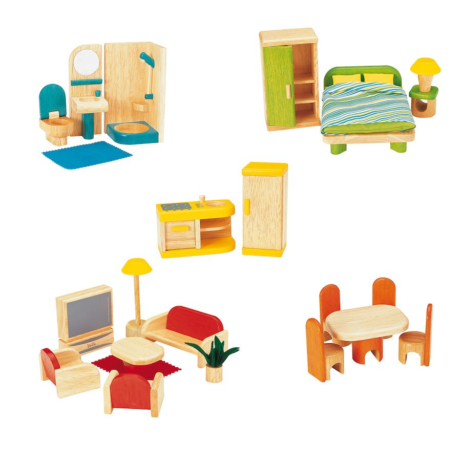 Large Wooden Home With Furniture Set Multi Level Wooden Dolls House And Accessories Miniature