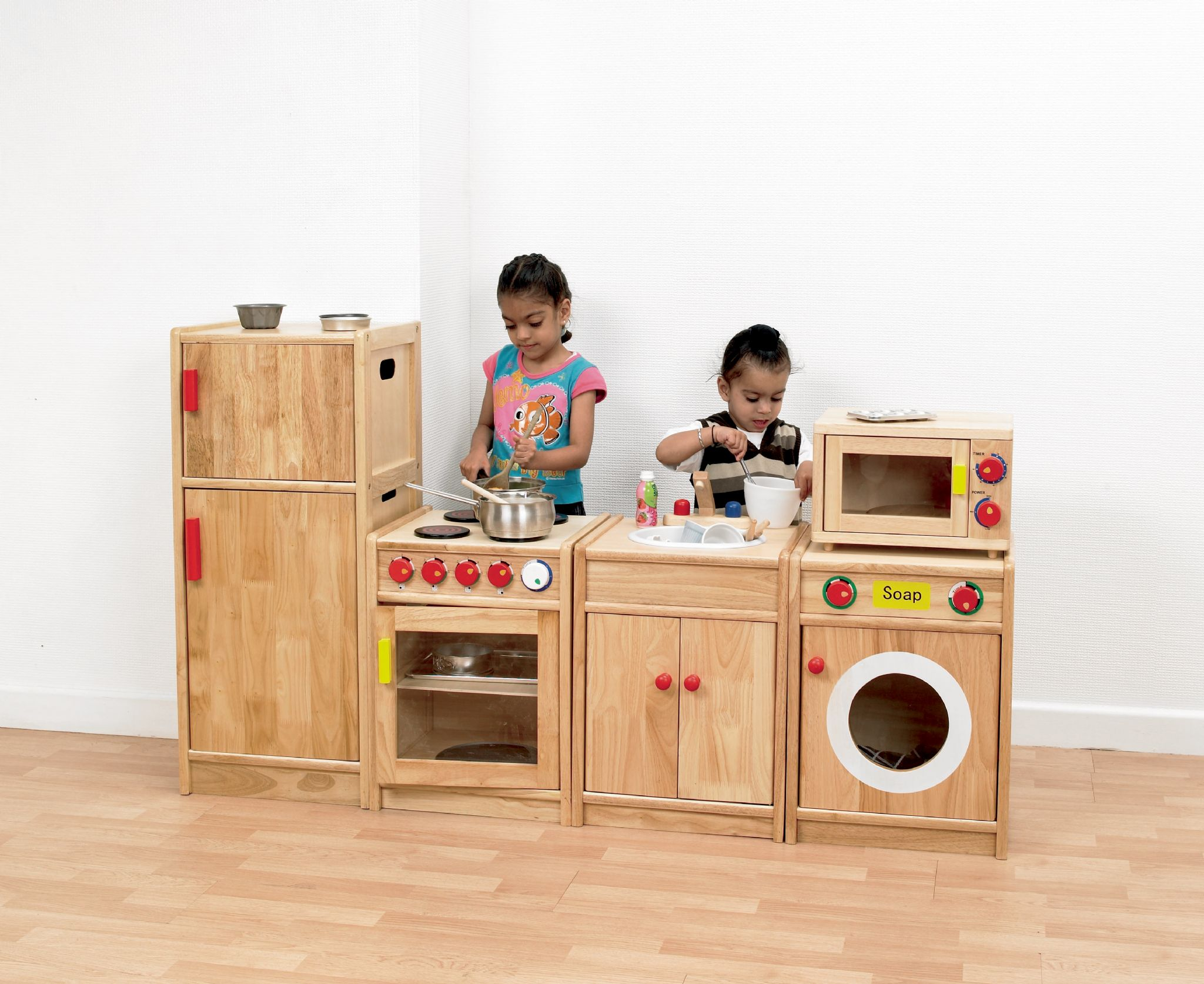 5 piece solid hardwood kitchen pretend play kitchen